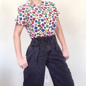 Vtg 80s/90s Multicolor Shape Blouse sz M